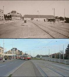 Pohled směrem ke Strašnické škole a stanici metra Strašnická.   Zdroj: https://picasaweb.google.com/116528770511783370129/StrasniceVceraADnes