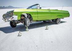 One green  lowrider.