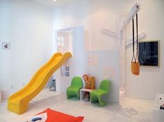 I'm pretty sure we can all say that we are jealous of these fun houses that have indoor slides. Sometimes it is a good idea to add an element of fun with indoor slides to keep your children entertained for days. Indoor Playroom, Indoor Playhouse, Playroom Slide, Playhouse Plans, Indoor Playset, Indoor Swing, Play Spaces, Kid Spaces, Play Areas