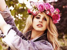 Lana shows off her dia de los muertos floral crown.