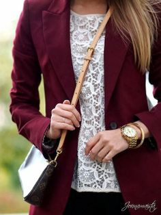 Burgundy Blazer with White Crochet Blouse