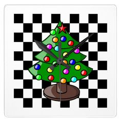 Christmas Tree Black and White Checkers Wall Clock.  Personalize with your own text.