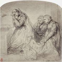 Fotoreproductie van tekening door Paul Delaroche: derniere communion de Marie Stuart, Robert Jefferson Bingham, Goupil