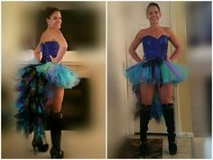 DIY Halloween tutu and peacock tail.