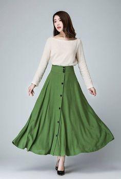 Green Linen maxi Skirt women long linen skirt with by xiaolizi