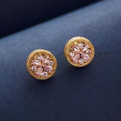 Cute and chic gold and diamond stud earrings crafted with pastel pink austrian crystals and 18K gold plating. Diamond tops for women. Gold studs with crystals. Girls Earrings, Small Earrings, Women's Earrings, Diamond Tops, Diamond Stud, 18k Rose Gold, 18k Gold, Fashion Earrings, Fashion Jewelry