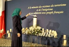 """Gathering titled """"In 2015, all for tolerance and democracy against religious extremism"""" Maryam Rajavi: Terrorist attacks in Paris fundamentally incongruent with Islam that advocates tolerance and coexistence. The only path to confront..."""