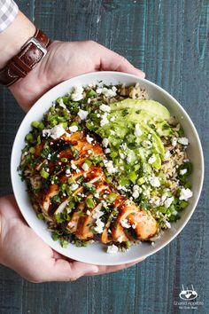 Grilled Honey Sriracha Chicken Rice Bowl with Avocado | sharedappetite.com