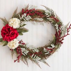 Christmas Decorations - Peony and Hydrangea Christmas Wreath
