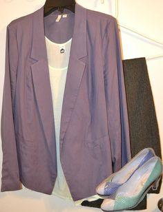 A mint blouse under a dark lavender blazer with mini chevron print pants and vintage cream, mint and lavender heels.
