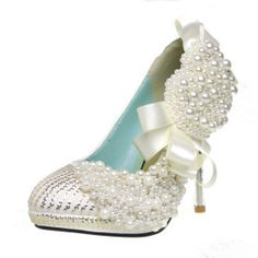 Ultra Luxurious Leatherette Upper Stiletto Heel Closed Toe With Imitation Pearl Wedding/ Party Shoes