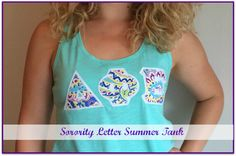 not4years4life.blogspot.com Sorority Letter Summer Tank: how to create your own stitched letter tank top for Convention in Orlando!