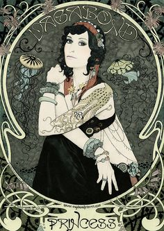Vagabond Princess poster by Anna Higgie  I love the art nouveau style mixed with gypsy boho vibe.
