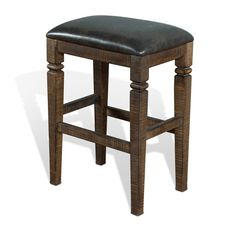 Sunny Designs' sturdy backless stool made of birch and New Zealand pine with cushioned seat for comfort. Simple doesn't mean plain: hand-sawn distress marks create a worn-in, comfortable look; added style comes from a decorative turning on each leg.