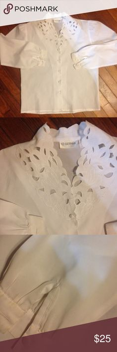White Hollow Out Blouse Women's size medium White Hollow Out Blouse by St GERMAIN of Paris sheer material St germain of paris Tops Button Down Shirts