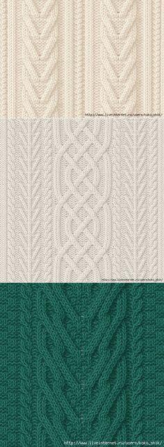 Вязание спицами - Узоры спицами - Косы и араны - 30 узоров