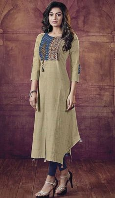 Beautiful cotton kurti with prints patches and embroidery detailing.
