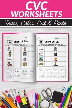 CVC Word Worksheets - Cut and Paste Worksheets, Short Vowels Worksheet Fill In 1st Grade Activities, Classroom Activities, Easter Activities, Learning Activities, Vowel Worksheets, Printable Worksheets, Printables, Writing Resources, Teacher Resources