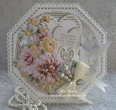 Ideas For Wedding Card Craft Projects Wedding Cards Handmade, Beautiful Handmade Cards, Hexagon Cards, Tonic Cards, Tattered Lace Cards, Anna Griffin Cards, Shaped Cards, Wedding Anniversary Cards, Shabby