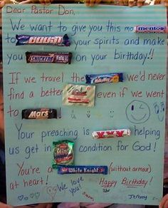 Candy Bar Card for Pastor Don (candy birthday cards for friends) Candy Bar Poems, Candy Bar Cards, Candy Birthday Cards, Candy Bar Sayings, Candy Quotes, Birthday Gag Gifts, Birthday Cards For Friends, Birthday Ideas, 50th Birthday