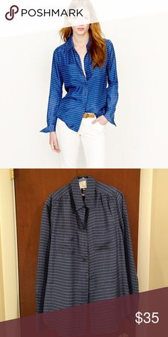 JCREW Blythe Blouse in Silk Pebble Dot Worn twice - amazing blouse for work or weekends.  Silk.  Dry clean. J. Crew Tops Button Down Shirts