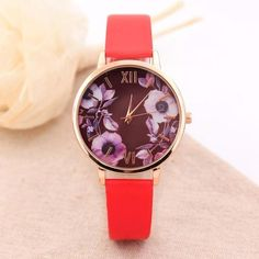 Elegant Watch Women 2017 PU Leather Wristwatch For Women Floral Clock Woman Quartz Watch Reloj mujer Montre Female #824