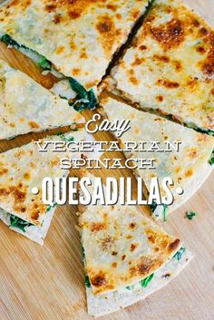 These are soooooo easy and good! Healthy, real food, vegetarian quesadillas that are packed with spinach. Such a simple meal to get dinner on the table FAST!