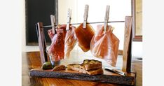 """PLAYFUL PLATTER On the menu at the new Mattei's Tavern is """"Felix Mattei's Dirty Laundry,"""" a variety of salumi: Lomo, Bresaola, Proscuitto di San Danielle, and Mortadella, hung from a custom-made mini clothesline."""