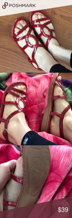 Red patent leather shoes/ worn only twice The cutest little summer staple. I'm only selling because I have way too many shoes and I want to thin down my closet. Size 7 or 7 1/2 and is perfect. I ended up getting a pair of Birkenstocks that I love. So, these got to go to someone who can appreciate them more. b.o.c. Shoes