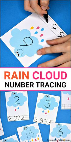 Grab these adorable Rain Cloud Number Tracing Cards for fun writing and counting practice! These smiley clouds are going to help your little learners practice counting and writing numbers from This set features 21 number tracing cards! Weather Activities Preschool, Counting Activities, Spring Activities, Preschool Math, In Kindergarten, Activities For Kids, Preschool Number Crafts, Letter Sound Activities, Number Tracing