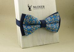 Light and Dark Colorful Blue Bow Tie - Ready Tied Bow Tie - Adult Bow Tie - Mens bowtie - Groomsman, Wedding Bow Tie - Gift for Him -Mr.DEER by MrDEERbowtie on Etsy