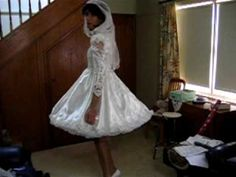 Crossdresser Michelle Playing Brides in Shortened Wedding Dress - YouTube