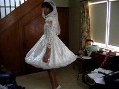 Crossdresser Michelle Playing Brides in Shortened Wedding Dress - YouTube