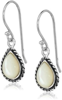 650abb2c3 Sterling Silver Mother of Pearl Rope Framed Tear Drop Earrings ** Check out  this great product-affiliate link. Women's Jewelry And Watches
