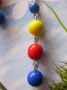 Earrings bright blue red yellow glass beads children by BBees2012