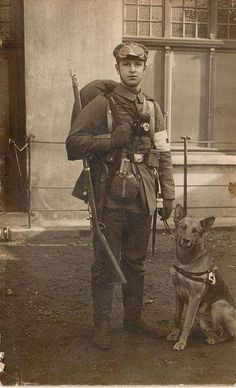 A German medic and his dog, ca. 1914-1915.