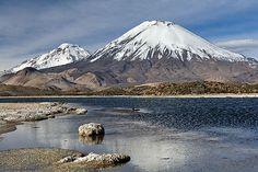 Volcanoes Parinacota and Pomerape with Lagunas Cotacotani, Chile