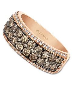 Le Vian 14k Rose Gold Ring, Chocolate and White Diamond 2-row Band (1-1/2 ct. t.w.)