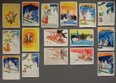 Saimme tänään viidennen luokan kanssa valmiiksi taidejäljennökset. Aiheena jäljennöksissä oli Rudolf Koivun joulukortit. Teimme työt A4 ko...