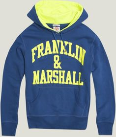 2013 - MAN Spring Summer COLLECTION - Neon details for this hooded sweatshirt. #franklinandmarshall, #americancollegestyle.