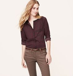 Tall Burgundy Deco Piped Blouse | Loft