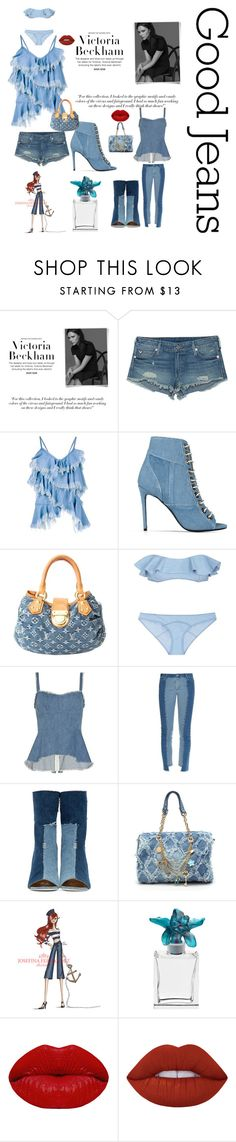 """the Love of denim"" by kotnourka ❤ liked on Polyvore featuring Victoria Beckham, True Religion, Marques'Almeida, Barbara Bui, Louis Vuitton, Lisa Marie Fernandez, Exclusive for Intermix, House of Holland, Off-White and Daum"