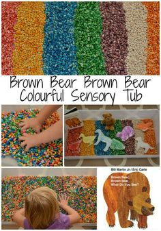 Bring this beloved kids book to life with a fun sensory bin inspired by the book, Brown Bear, Brown Bear What Do You See? Sensory Activities, Sensory Play, Book Activities, Preschool Activities, Sensory Tubs, Preschool Classroom, Infant Activities, Brown Bear Activities, Classroom Ideas