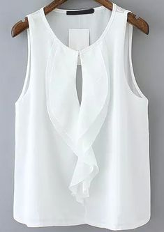 Ruffle Hollow Chiffon White Tank TopFor Women-romwe - my siteShop [good_name] at ROMWE, discover more fashion styles online. Would also be nice painted on silk:caramel and white:. Blouse Styles, Blouse Designs, Hijab Styles, Boho Bluse, Boyfriend Girlfriend Shirts, Sewing Blouses, Chiffon Ruffle, Chiffon Blouses, T Shirt Yarn