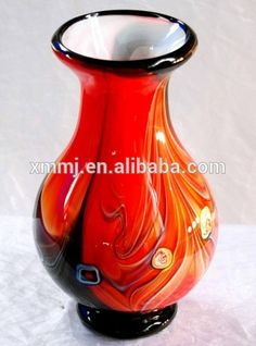art glass vase Large Glass Vase, Murano Glass Vase, Glass Chandelier, Glass Art, Creative Arts And Crafts, Table Top Display, Decoration, Ceramics, Shapes
