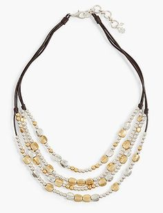 Two Tone Beaded Collar Necklace | Lucky Brand