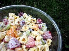 Creamy Fruit and Cheese Tortellini Salad with Greek yogurt dressing - perfect for a spring or summer potluck!