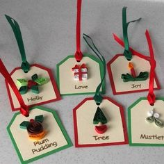 Christmas gift tags, set of 6, quilled