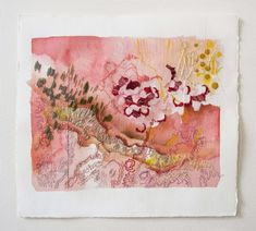 Inspirational Bunch: A Bunch of Embroidery Art - Elumina Embroidered Paper, Paper Embroidery, Creative Embroidery, Japanese Embroidery, Embroidery Ideas, Embroidery Stitches, Watercolor Mixing, Watercolor Art, Textiles