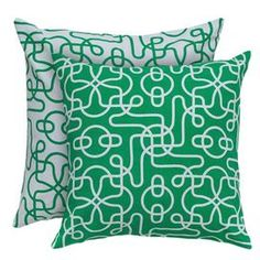 """Add a plush pop of style to your sofa or favorite reading nook with this eye-catching pillow.   Product: PillowConstruction Material: Cotton cover and polyester fillColor: Green and whiteFeatures:  Insert includedHidden zipper closurePrinting details with reversible pattern Dimensions: 18"""" x 18""""Cleaning and Care: Machine wash in cold water on gentle cycle. Lay flat to dry."""